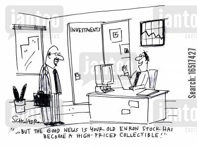 enron cartoon humor: '...but the good new is your old Enron stock has become a high-priced collectible!'