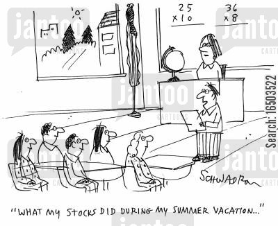 dowe jones cartoon humor: 'What my stocks did during my summer vacation...'