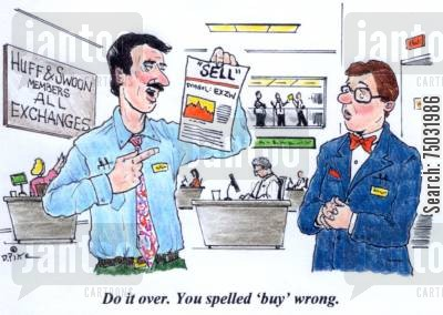 analyze cartoon humor: 'Do it over. You spelled 'buy' wrong.'