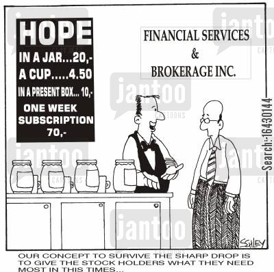 stock crash cartoon humor: 'Our concept to survive the sharp drop is to give the stock-holders what they need most in these times...' (Caption may be modified)