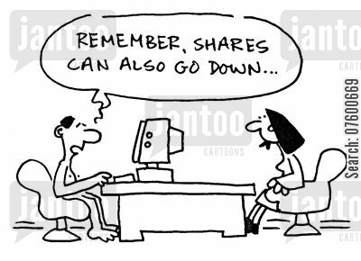 market traders cartoon humor: 'Remember, shares can also go down...'