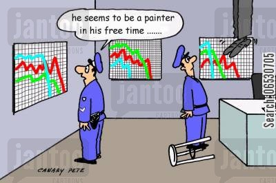 stock market crash cartoon humor: He seems to be a painter in his free time......