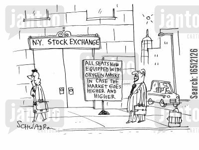 financial market cartoon humor: New York stock exchange