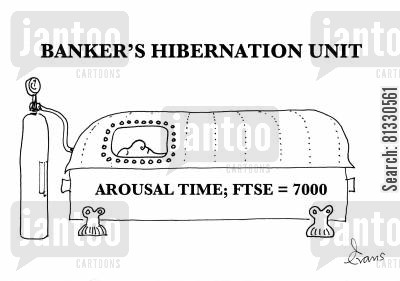 hibernating cartoon humor: Banker's Hibernation Unit. (Arousal time - FTSE = 7000)