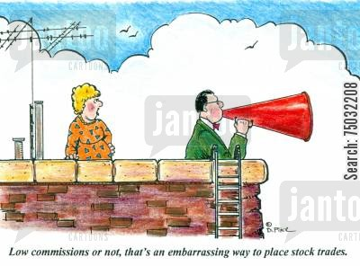 embarrasment cartoon humor: 'Low commissions or not, that's an embarrassing way to place stock trades.'
