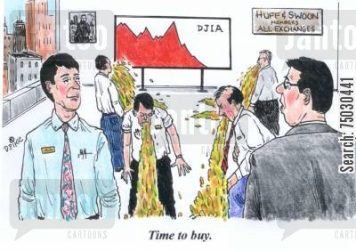 puke cartoon humor: 'Time to buy.'