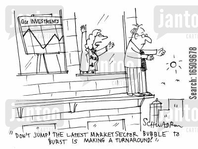 trading floor cartoon humor: 'Don't jump! The latest market sector bubble to burst is making a turnaround!'