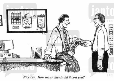 new cars cartoon humor: 'Nice car. How many clients did it cost you?'