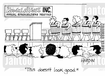 shareholders meetings cartoon humor: 'This doesn't look good.'
