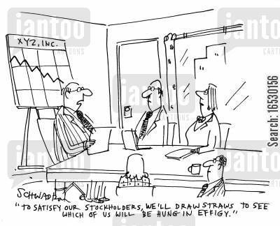 stockholder cartoon humor: 'To satisfy our stockholders, we'll draw stars to see which of us will be hung in effigy.'