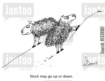 goats cartoon humor: Two sheep on the mountain; one going up, the other going down: 'Stock may go up or down.'