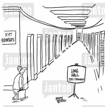 staying the course cartoon humor: Man enters investment brokerage that has an extremely long hall. Sign says, 'Long Hall ... Stay Straight'