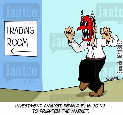 consumer confidence cartoon humor: Investment analyst Renald P. is going to frighten the market.