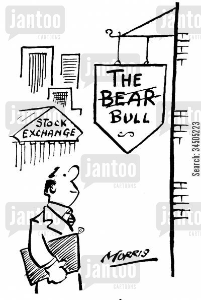 bear and bull markets cartoon humor: 'The Bear' pub, changed to 'The Bull.'