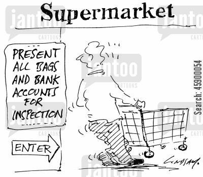 goods cartoon humor: Present all bags and bank accounts for inspection.