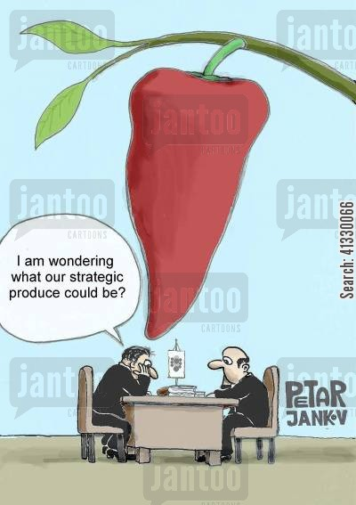 chili pepper cartoon humor: I'm wondering what our strategic produce could be?