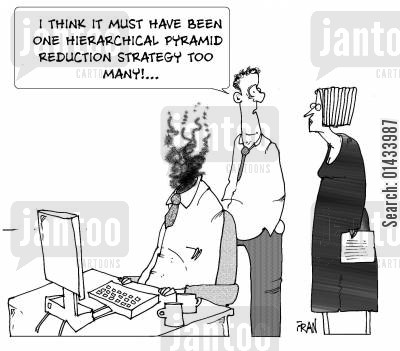 hard day cartoon humor: I think it must have been one hierarchical pyramid reduction strategy too many!...