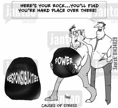 hard day cartoon humor: Here's your rock...you'll find your hard place over there!