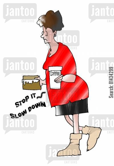 hard day cartoon humor: Stress...stop it, slow down.