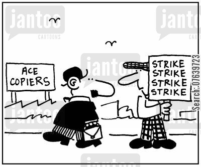 copiers cartoon humor: 'Ace copiers.' - 'Strike strike strike strike.'