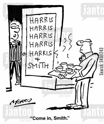 subservience cartoon humor: Come in, Smith.