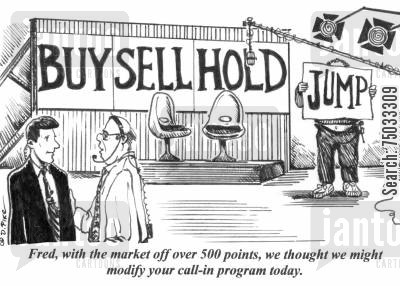 broadcast cartoon humor: 'Fred, with the market off over 500 points, we thought we might modify your call-in program today.'