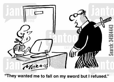 oblivion cartoon humor: They wanted me to fall on my sword, but I refused.