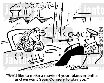 film producer cartoon humor: ...We'd like Sean Connery to play you.