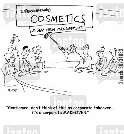 company takeovers cartoon humor: Gentlemen, don't think of this as a corporate takeover, it's a corporate makeover.