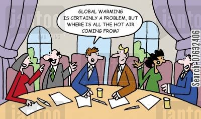 discussing cartoon humor: Global warming is certainly a problem. But where is all the hot air coming from?