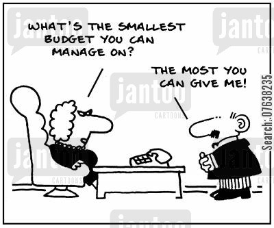 incetives cartoon humor: 'What's the smallest budget you can manage on?'
