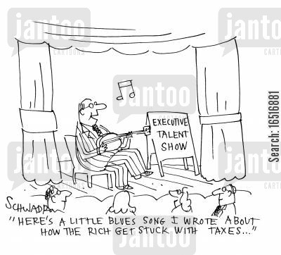 talent show cartoon humor: 'Here's a little blues song I wrote about how the rich get stuck with taxes. . .'