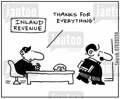 irs agents cartoon humor: 'Thanks for everything.'