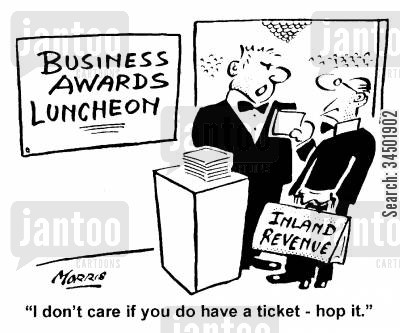 awards ceremony cartoon humor: I don't care if you have a ticket - hop it.