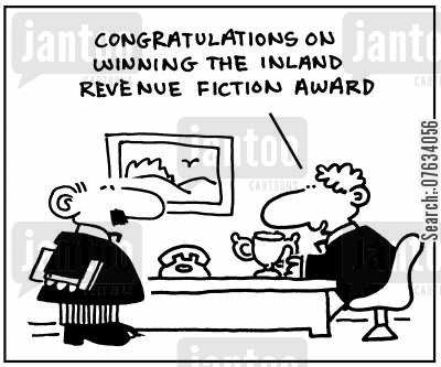 fictions cartoon humor: Congratulations on winning the Inland Revenue Fiction Award.