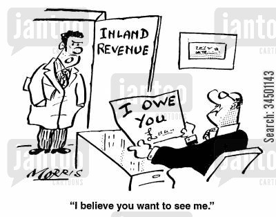 debt collector cartoon humor: I believe you want to see me.