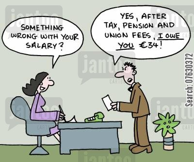 pay packet cartoon humor: Something wrong with your salary? Yes, after tax, pension and union fees, I owe you $34!