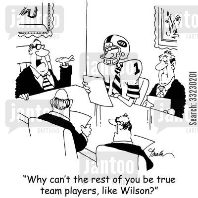 team players cartoon humor: 'Why can't the rest of you be true team players, like Wilson?'