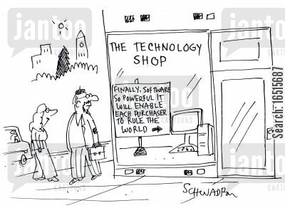 ruling the world cartoon humor: The Technology Shop.