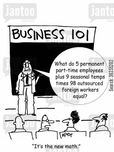 foreign worker cartoon humor: Counting part time employees is the new math.