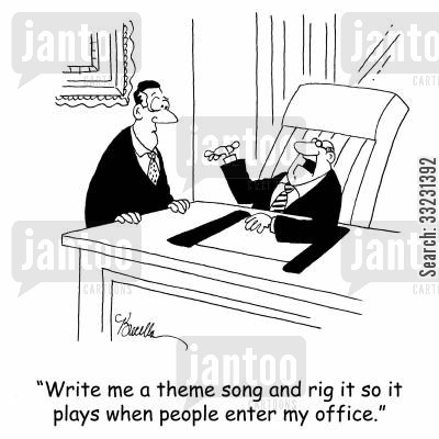 theme tune cartoon humor: 'Write me a theme song and rig it so it plays when people enter my office.'