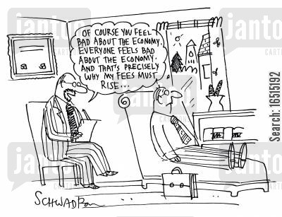 mental healthiness cartoon humor: 'Of course you feel bad about the eocnomy . . . '