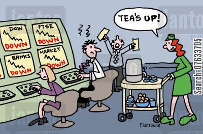 ftse cartoon humor: FTSE going down...but tea's up.