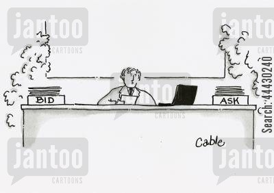 bids cartoon humor: Executive sitting behind desk with one box labelled 'Bid' and the other box labelled 'Ask'.
