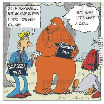marketplace cartoon humor: The Halitosis pills dealer and a bear - 'Let's make a deal!'