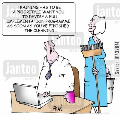 personnel management cartoon humor: Training has to be a priority. I want you to develop a full implementation as soon as you've finished the cleaning.