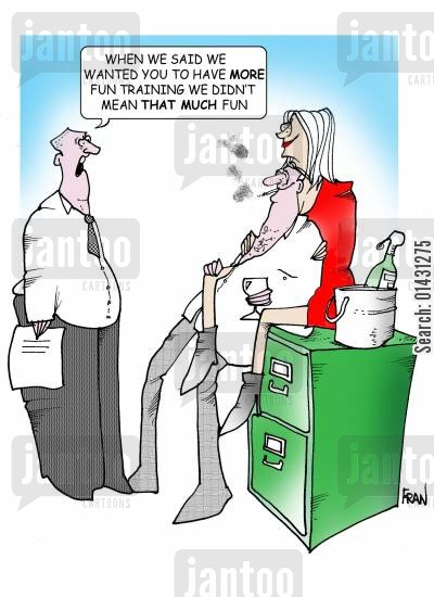 training courses cartoon humor: When we said we wanted to have more fun training we didn't mean THAT much fun.