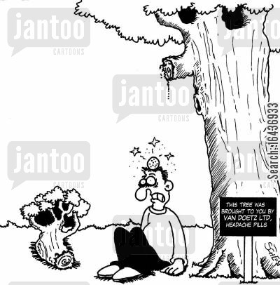 pain killers cartoon humor: This tree was brought to you by Van Doetz Ltd, Headache Pills