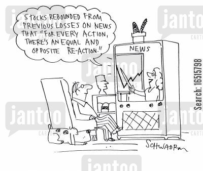 actions cartoon humor: Stocks rebounded from previous losses on news that for every action, there's an equal and opposite reaction.
