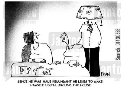 lampshades cartoon humor: 'Since he was made redundant he likes to make himself useful around the house.'
